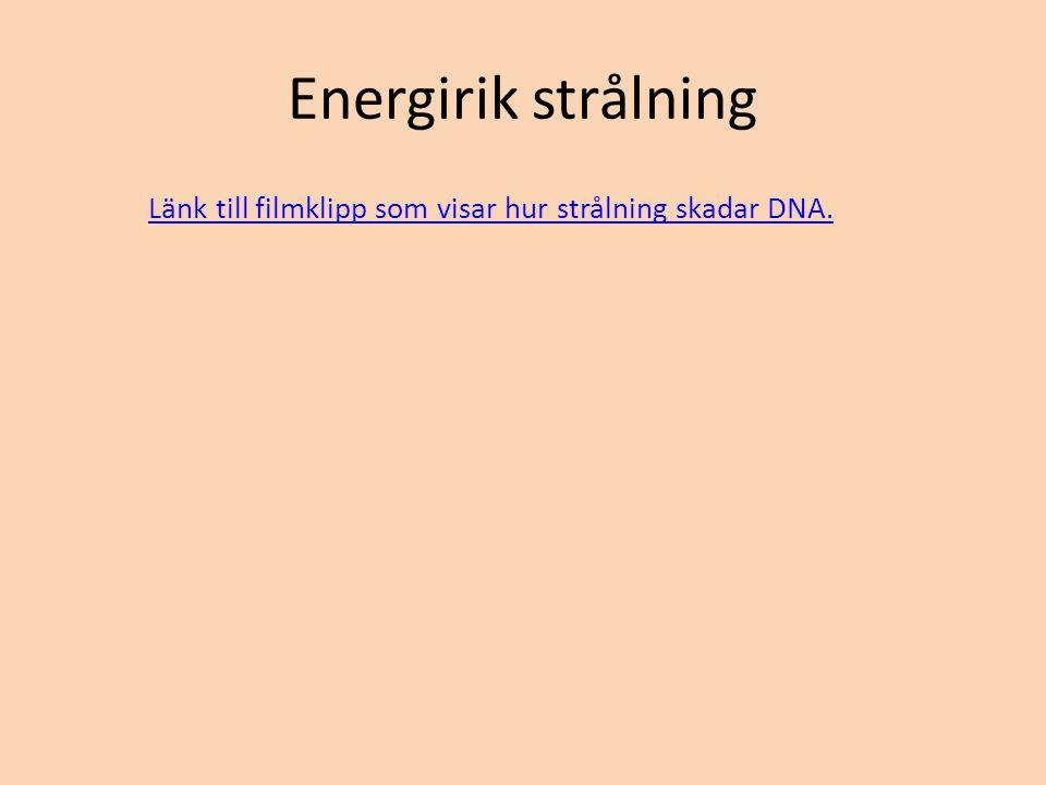 Energirik strålning Länk till filmklipp som visar hur strålning skadar DNA.