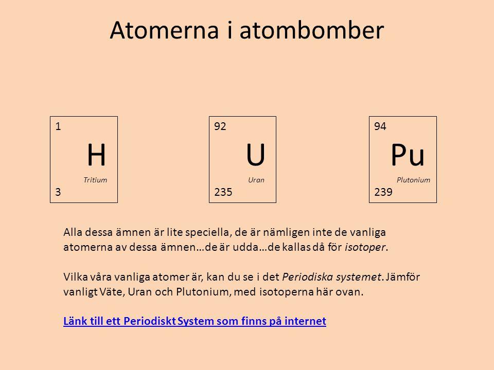 Atomerna i atombomber 1 H Tritium 3 92 U Uran 235 94 Pu Plutonium 239 Alla dessa ämnen är lite speciella, de är nämligen inte de vanliga atomerna av d