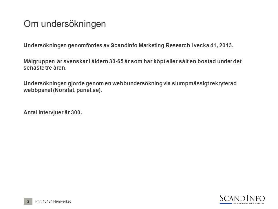 Om undersökningen Undersökningen genomfördes av ScandInfo Marketing Research i vecka 41, 2013. Målgruppen är svenskar i åldern 30-65 år som har köpt e