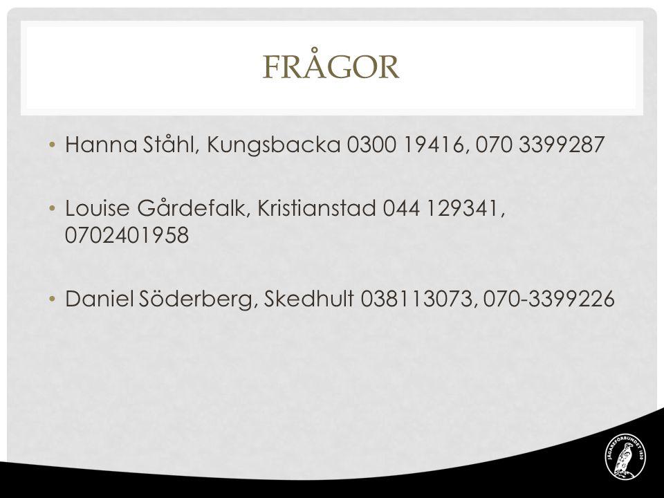FRÅGOR • Hanna Ståhl, Kungsbacka 0300 19416, 070 3399287 • Louise Gårdefalk, Kristianstad 044 129341, 0702401958 • Daniel Söderberg, Skedhult 03811307