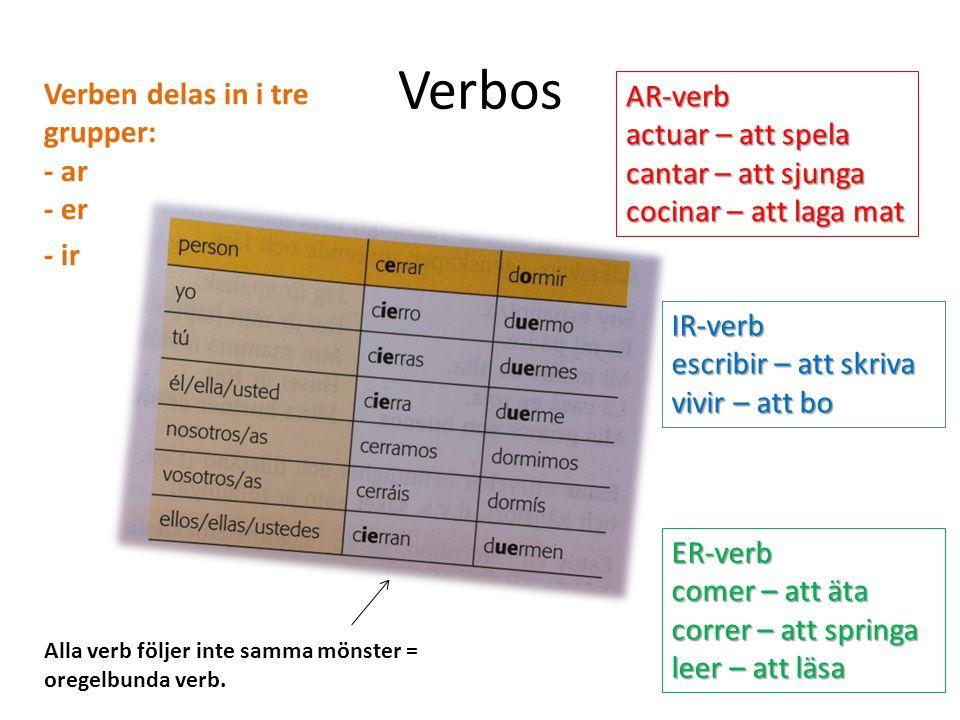 Sustantivos Substantiv är ord du kan sätta en, ett eller flera framför.