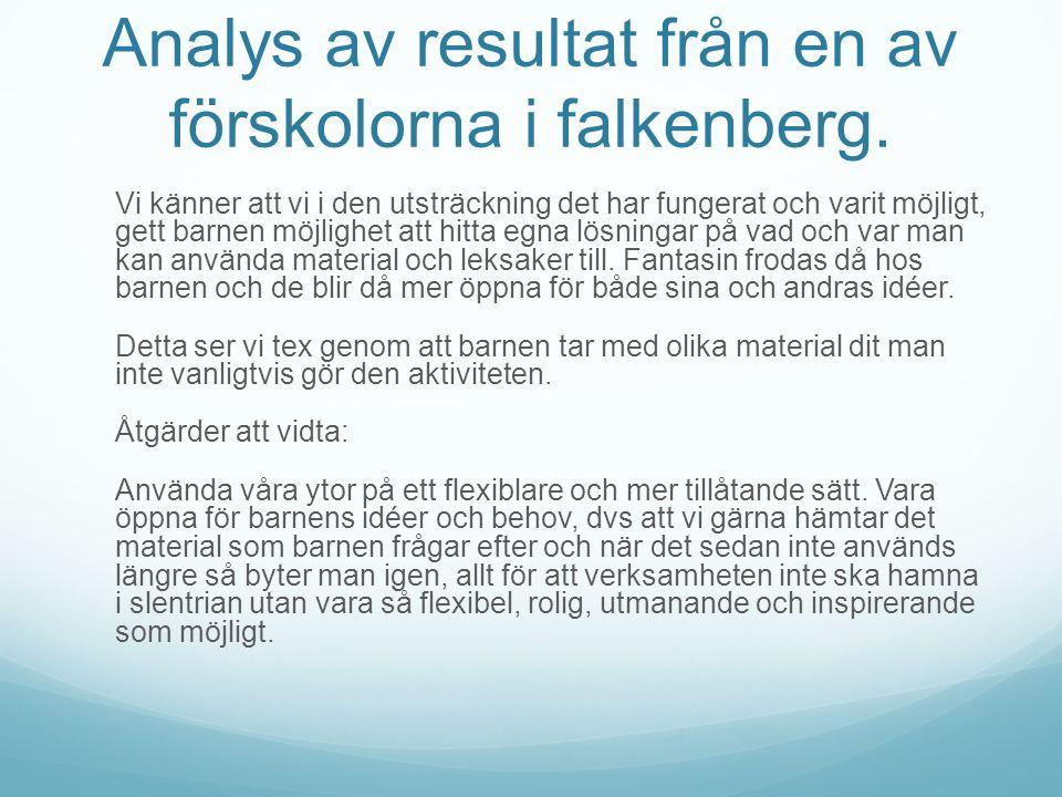 Analys av resultat från en av förskolorna i falkenberg. Vi känner att vi i den utsträckning det har fungerat och varit möjligt, gett barnen möjlighet