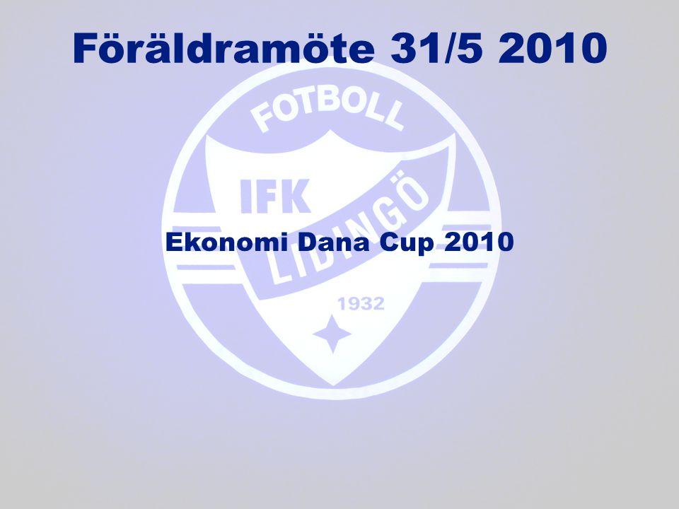 Föräldramöte 31/5 2010 Ekonomi Dana Cup 2010