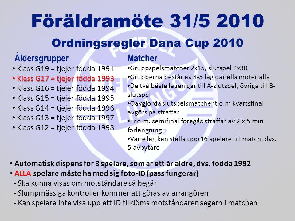 Föräldramöte 31/5 2010 Ordningsregler Dana Cup 2010 • Klass G19 = tjejer födda 1991 • Klass G17 = tjejer födda 1993 • Klass G16 = tjejer födda 1994 • Klass G15 = tjejer födda 1995 • Klass G14 = tjejer födda 1996 • Klass G13 = tjejer födda 1997 • Klass G12 = tjejer födda 1998 Åldersgrupper • Automatisk dispens för 3 spelare, som är ett år äldre, dvs.