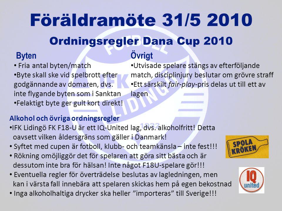 Föräldramöte 31/5 2010 Ordningsregler Dana Cup 2010 • Fria antal byten/match • Byte skall ske vid spelbrott efter godgännande av domaren, dvs.