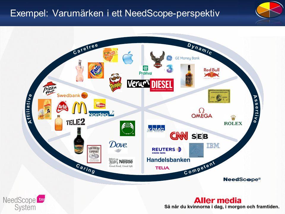 Exempel: Varumärken i ett NeedScope-perspektiv