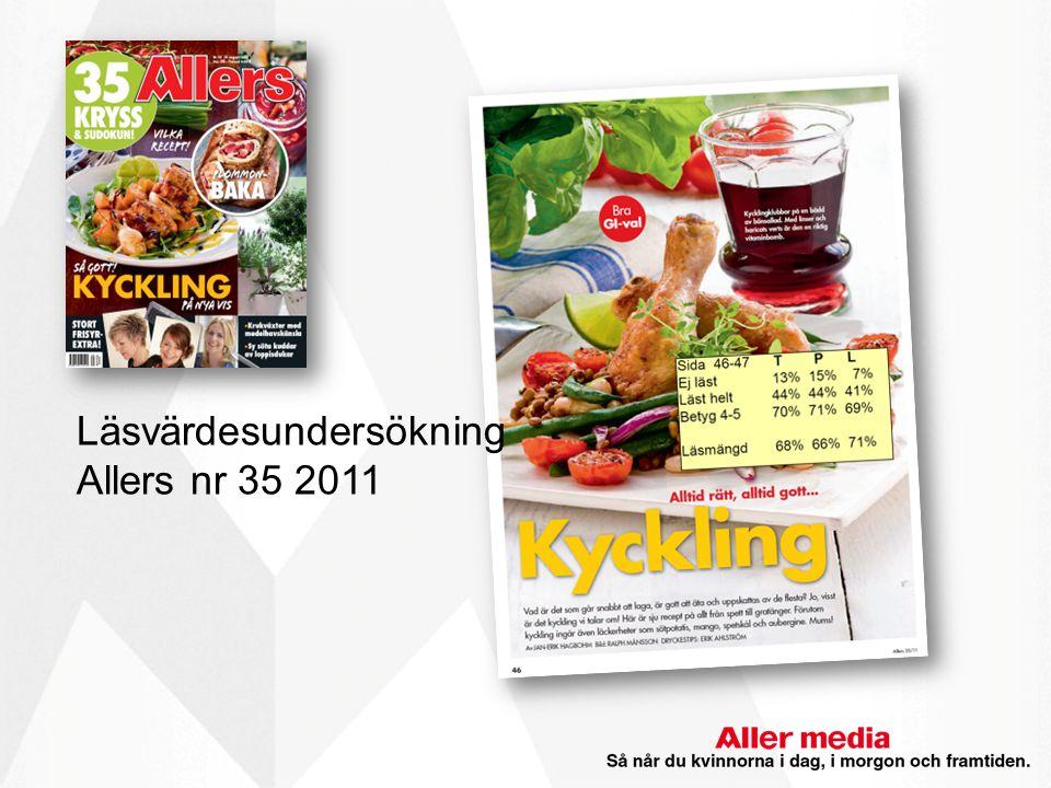 Presentation Läsvärdesundersökning Allers nr 35 2011