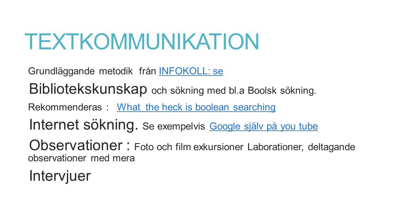 TEXTKOMMUNIKATION Grundläggande metodik från INFOKOLL: seINFOKOLL: se Bibliotekskunskap och sökning med bl.a Boolsk sökning.