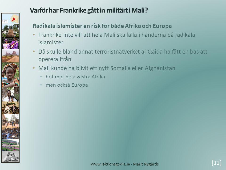 Varför har Frankrike gått in militärt i Mali? Radikala islamister en risk för både Afrika och Europa • Frankrike inte vill att hela Mali ska falla i h
