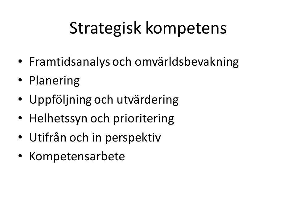 Strategisk kompetens • Framtidsanalys och omvärldsbevakning • Planering • Uppföljning och utvärdering • Helhetssyn och prioritering • Utifrån och in perspektiv • Kompetensarbete
