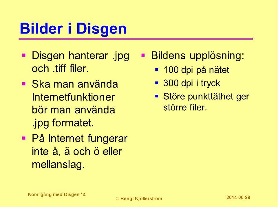 Bilder i Disgen  Disgen hanterar.jpg och.tiff filer.  Ska man använda Internetfunktioner bör man använda.jpg formatet.  På Internet fungerar inte å