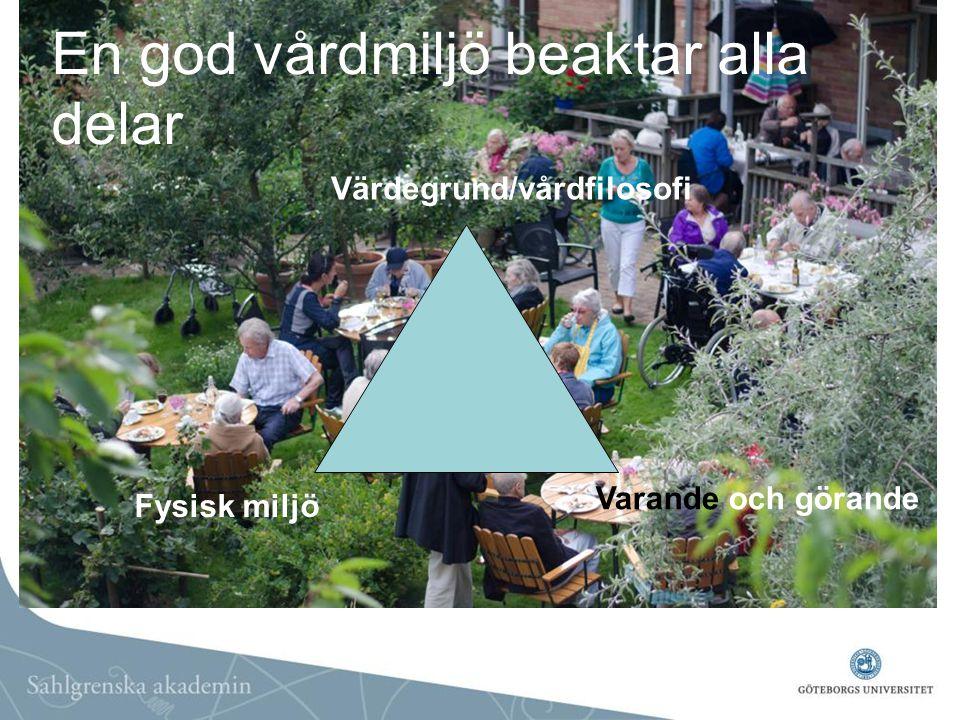 En god vårdmiljö beaktar alla delar Värdegrund/vårdfilosofi Fysisk miljö Varande och görande