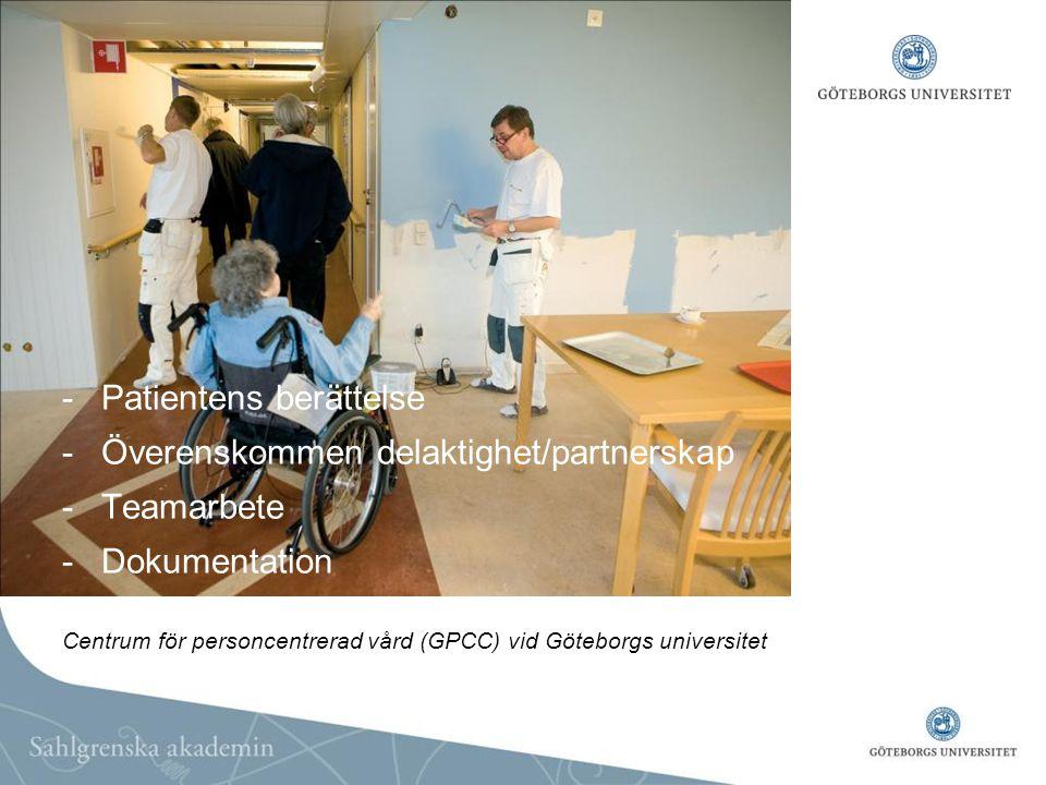 -Patientens berättelse -Överenskommen delaktighet/partnerskap -Teamarbete -Dokumentation Centrum för personcentrerad vård (GPCC) vid Göteborgs univers