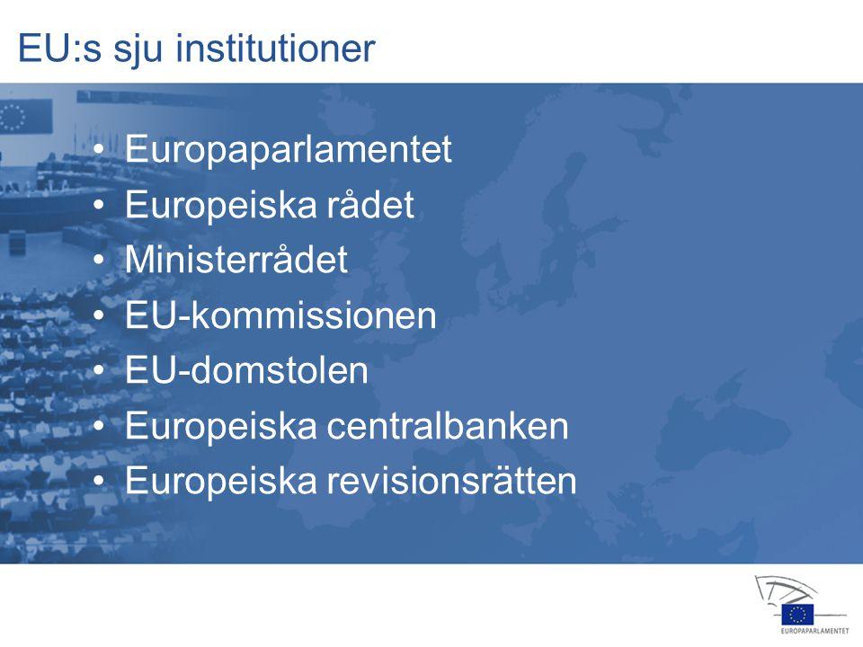 13 jan 2004 14 feb 20064 apr 2006 24 jul 2006 25 jul 2006 22 nov 200516 feb 2006 23 okt 2006 15 nov 2006 12 dec 2006 Europaparlamentet –stiftar EU-lag (med ministerrådet) –kontrollerar kommissionen –beslutar om budgeten (med ministerrådet) –godkänner nya EU-länder –är en viktig politisk scen –är den enda folkvalda EU-institutionen