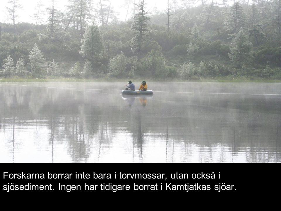 Forskarna borrar inte bara i torvmossar, utan också i sjösediment. Ingen har tidigare borrat i Kamtjatkas sjöar.