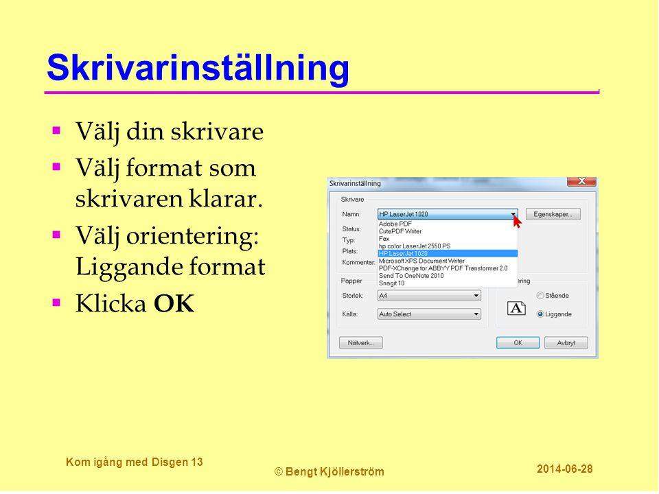 Skrivarinställning  Välj din skrivare  Välj format som skrivaren klarar.  Välj orientering: Liggande format  Klicka OK Kom igång med Disgen 13 © B