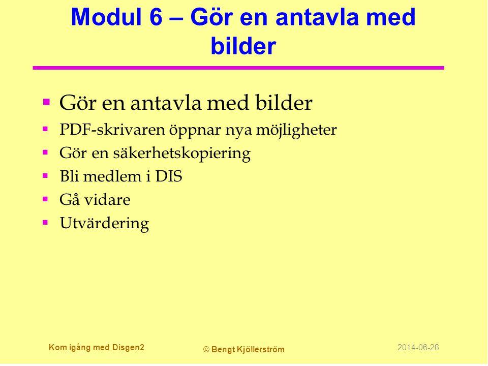 Modul 6 – Gör en antavla med bilder  Gör en antavla med bilder  PDF-skrivaren öppnar nya möjligheter  Gör en säkerhetskopiering  Bli medlem i DIS