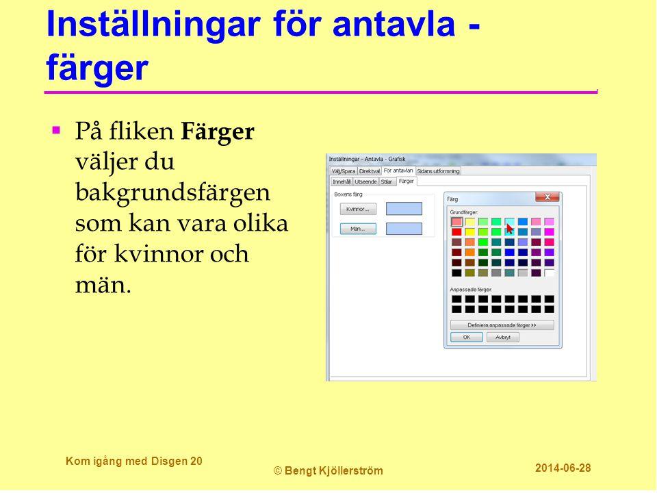 Inställningar för antavla - färger  På fliken Färger väljer du bakgrundsfärgen som kan vara olika för kvinnor och män. Kom igång med Disgen 20 © Beng