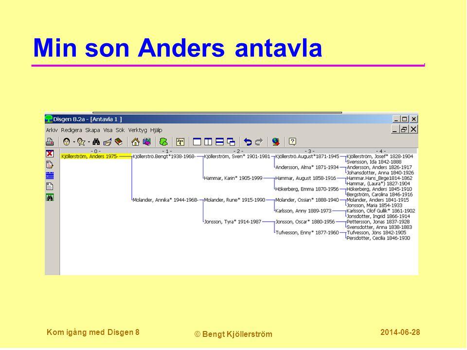 Min son Anders antavla Kom igång med Disgen 8 © Bengt Kjöllerström 2014-06-28