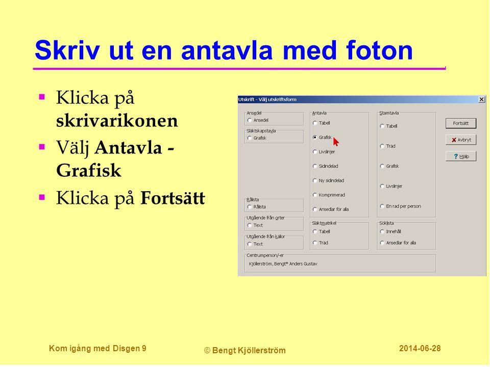 Skriv ut en antavla med foton  Klicka på skrivarikonen  Välj Antavla - Grafisk  Klicka på Fortsätt Kom igång med Disgen 9 © Bengt Kjöllerström 2014