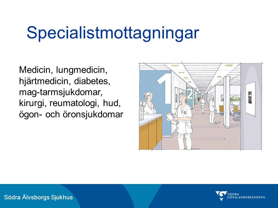 Södra Älvsborgs Sjukhus Specialistmottagningar Medicin, lungmedicin, hjärtmedicin, diabetes, mag-tarmsjukdomar, kirurgi, reumatologi, hud, ögon- och ö