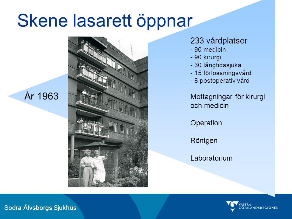 Södra Älvsborgs Sjukhus Skene lasarett öppnar 233 vårdplatser - 90 medicin - 90 kirurgi - 30 långtidssjuka - 15 förlossningsvård - 8 postoperativ vård