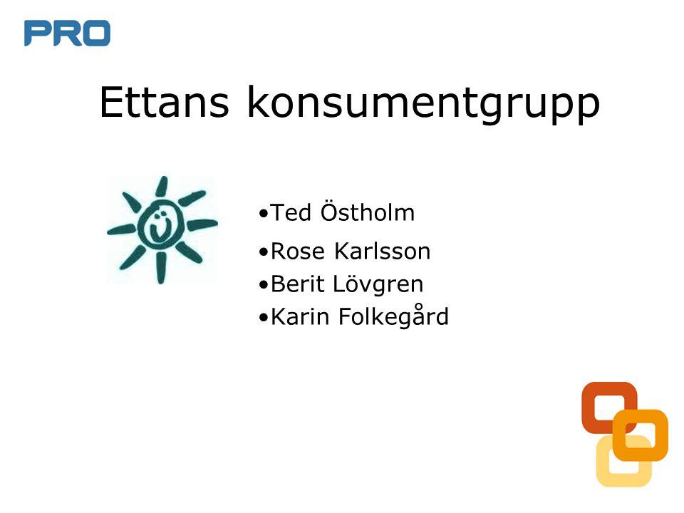•Ted Östholm •Rose Karlsson •Berit Lövgren •Karin Folkegård Ettans konsumentgrupp
