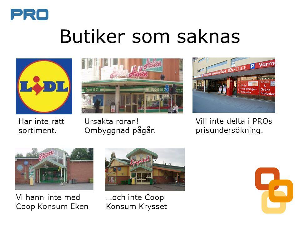 • Butikerna kontrollerar PROs listor • Fuskar (vissa) butiker genom att sänka priset tillfälligt.