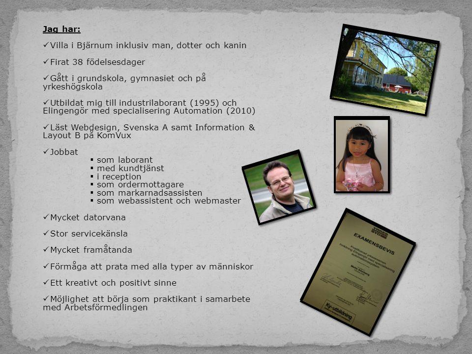 Jag har:  Villa i Bjärnum inklusiv man, dotter och kanin  Firat 38 födelsesdager  Gått i grundskola, gymnasiet och på yrkeshögskola  Utbildat mig