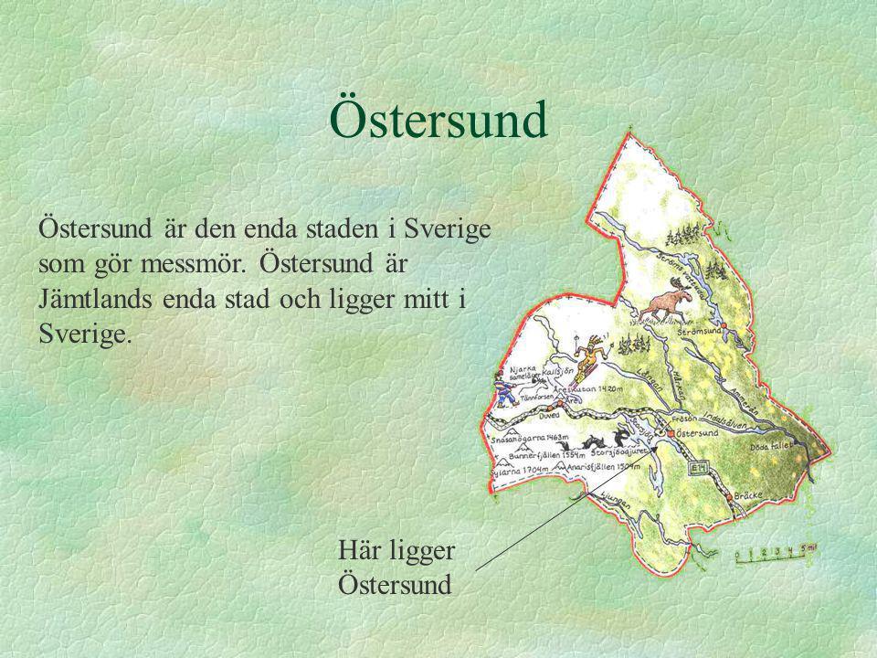 Östersund Östersund är den enda staden i Sverige som gör messmör. Östersund är Jämtlands enda stad och ligger mitt i Sverige. Här ligger Östersund