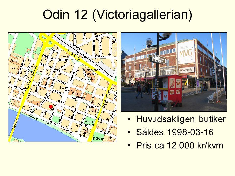 Odin 12 (Victoriagallerian) •Huvudsakligen butiker •Såldes 1998-03-16 •Pris ca 12 000 kr/kvm