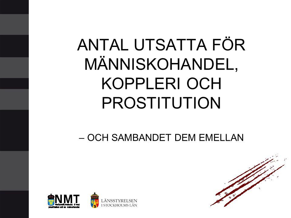 ANTAL UTSATTA FÖR MÄNNISKOHANDEL, KOPPLERI OCH PROSTITUTION – OCH SAMBANDET DEM EMELLAN