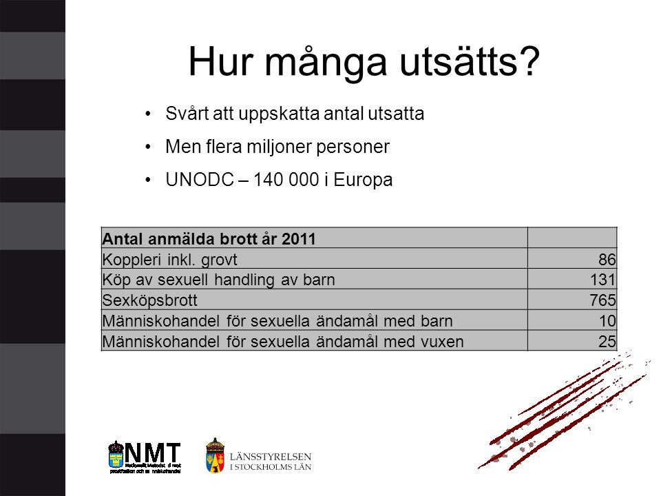 •Svårt att uppskatta antal utsatta •Men flera miljoner personer •UNODC – 140 000 i Europa Hur många utsätts? Antal anmälda brott år 2011 Koppleri inkl