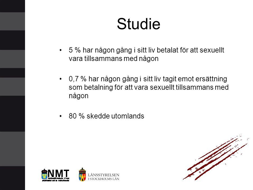 Studie •5 % har någon gång i sitt liv betalat för att sexuellt vara tillsammans med någon •0,7 % har någon gång i sitt liv tagit emot ersättning som b