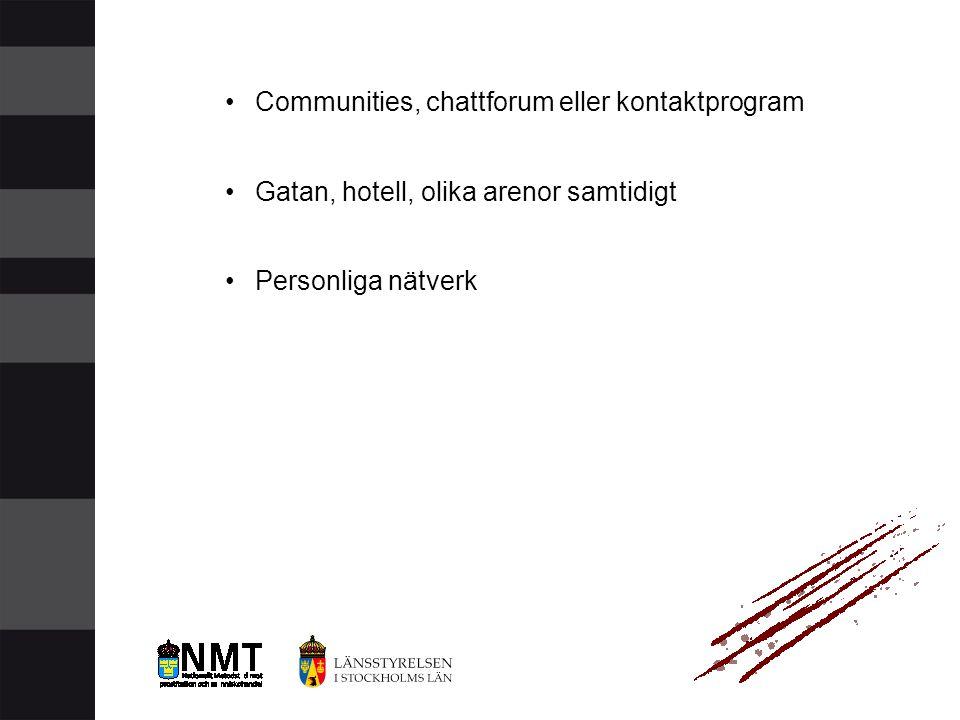 •Communities, chattforum eller kontaktprogram •Gatan, hotell, olika arenor samtidigt •Personliga nätverk