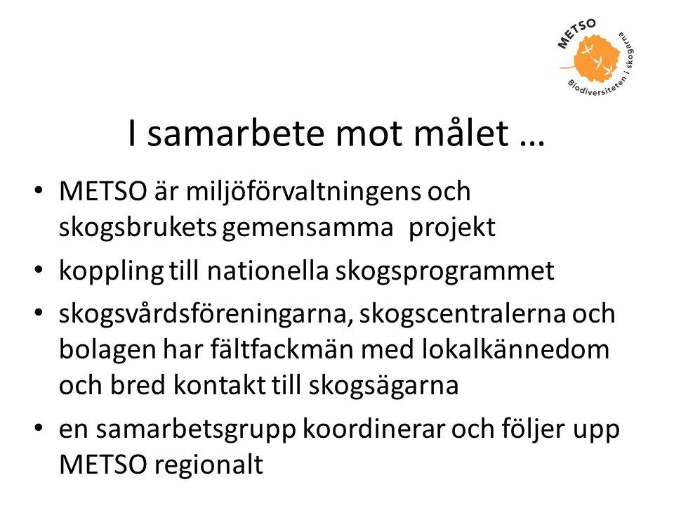 I samarbete mot målet … • METSO är miljöförvaltningens och skogsbrukets gemensamma projekt • koppling till nationella skogsprogrammet • skogsvårdsföre