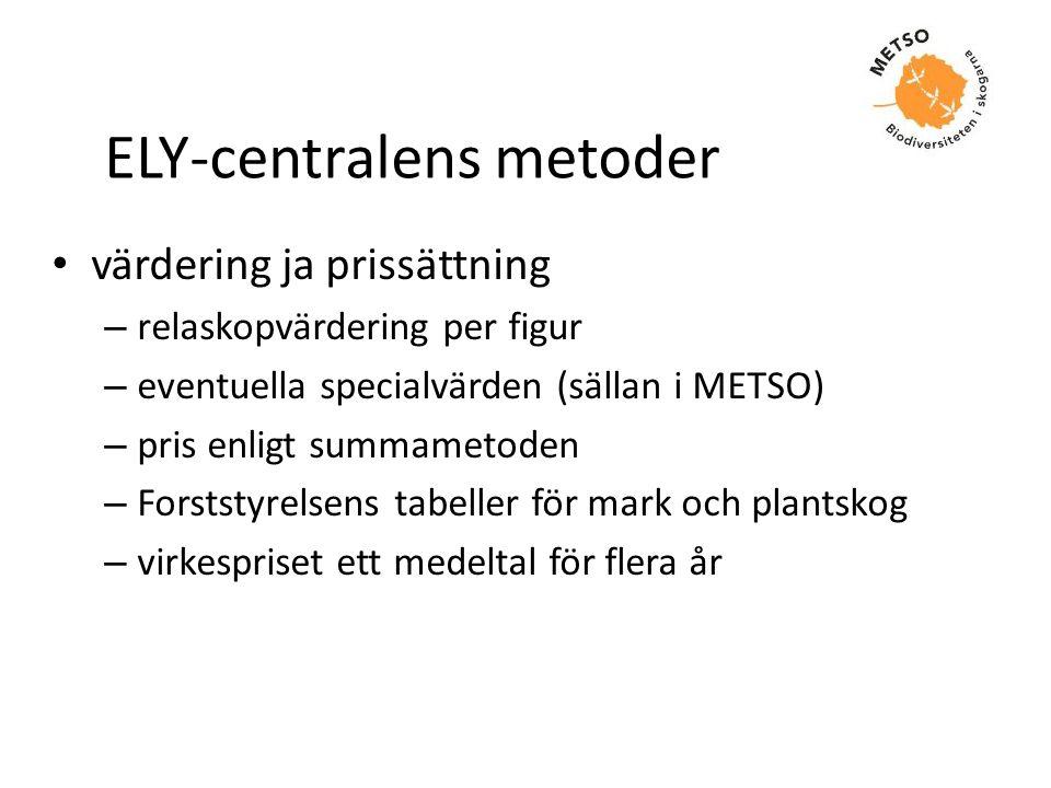 ELY-centralens metoder • värdering ja prissättning – relaskopvärdering per figur – eventuella specialvärden (sällan i METSO) – pris enligt summametode