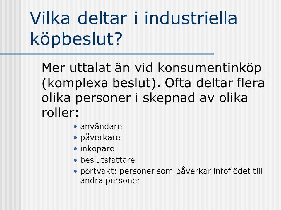 Vilka deltar i industriella köpbeslut? Mer uttalat än vid konsumentinköp (komplexa beslut). Ofta deltar flera olika personer i skepnad av olika roller