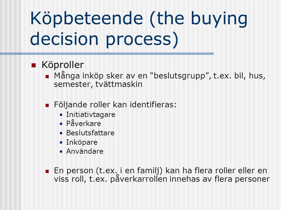 """Köpbeteende (the buying decision process)  Köproller  Många inköp sker av en """"beslutsgrupp"""", t.ex. bil, hus, semester, tvättmaskin  Följande roller"""