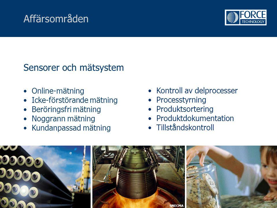 Affärsområden Sensorer och mätsystem • Online-mätning • Icke-förstörande mätning • Beröringsfri mätning • Noggrann mätning • Kundanpassad mätning • Ko