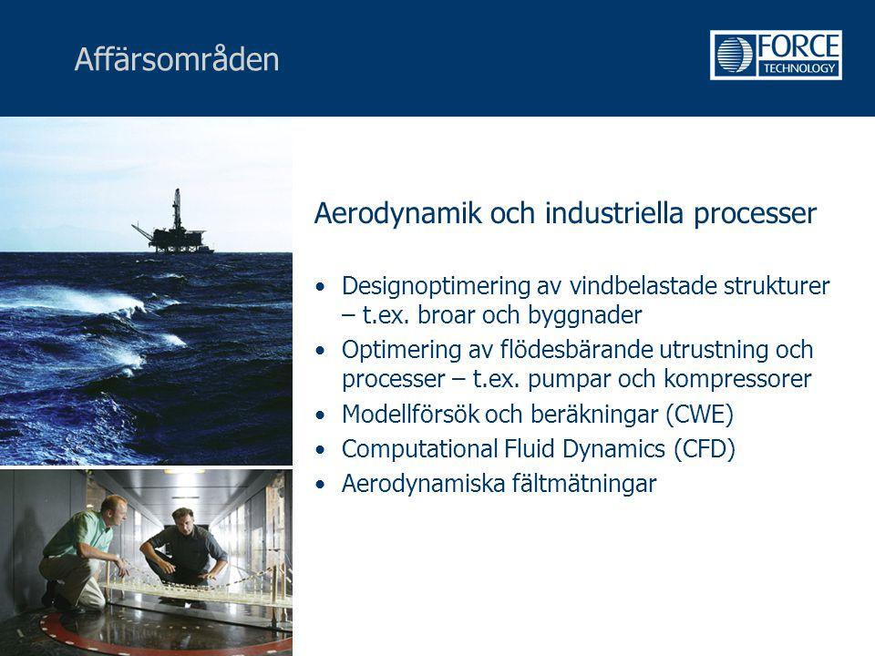 Affärsområden Aerodynamik och industriella processer •Designoptimering av vindbelastade strukturer – t.ex. broar och byggnader •Optimering av flödesbä