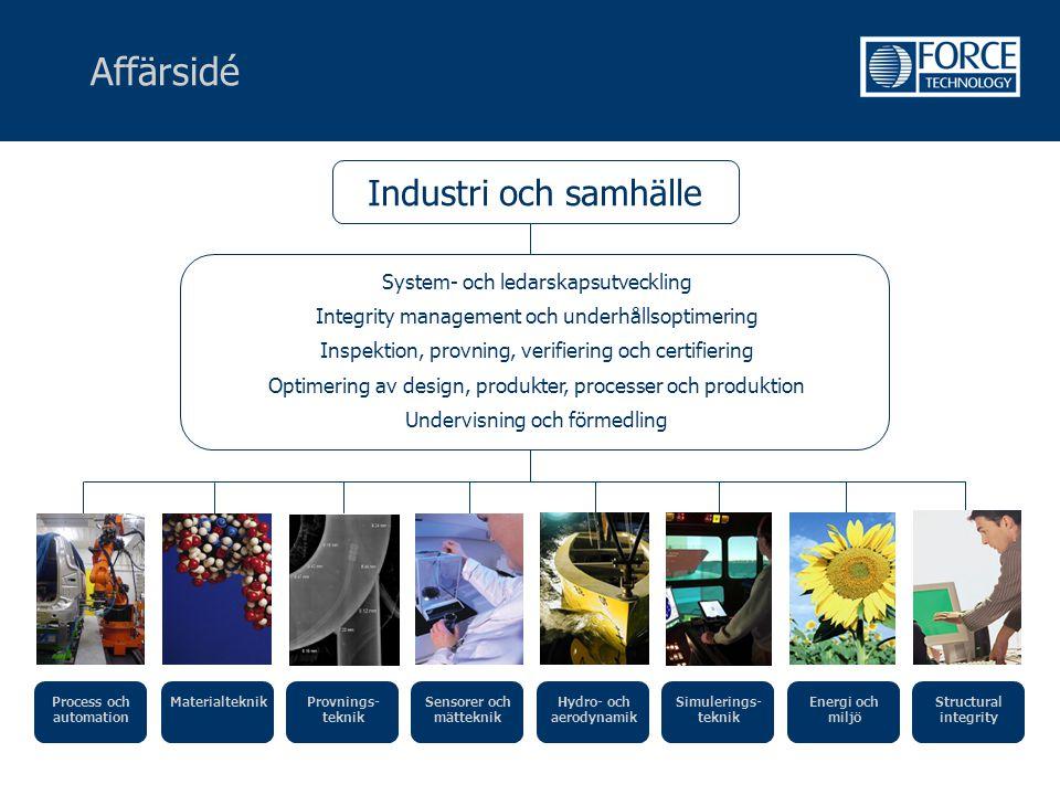 Affärsidé Industri och samhälle System- och ledarskapsutveckling Integrity management och underhållsoptimering Inspektion, provning, verifiering och c
