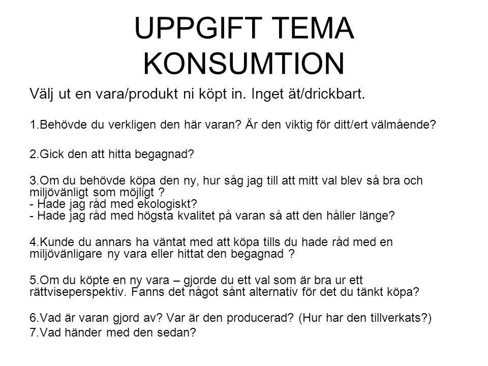 UPPGIFT TEMA KONSUMTION Välj ut en vara/produkt ni köpt in.