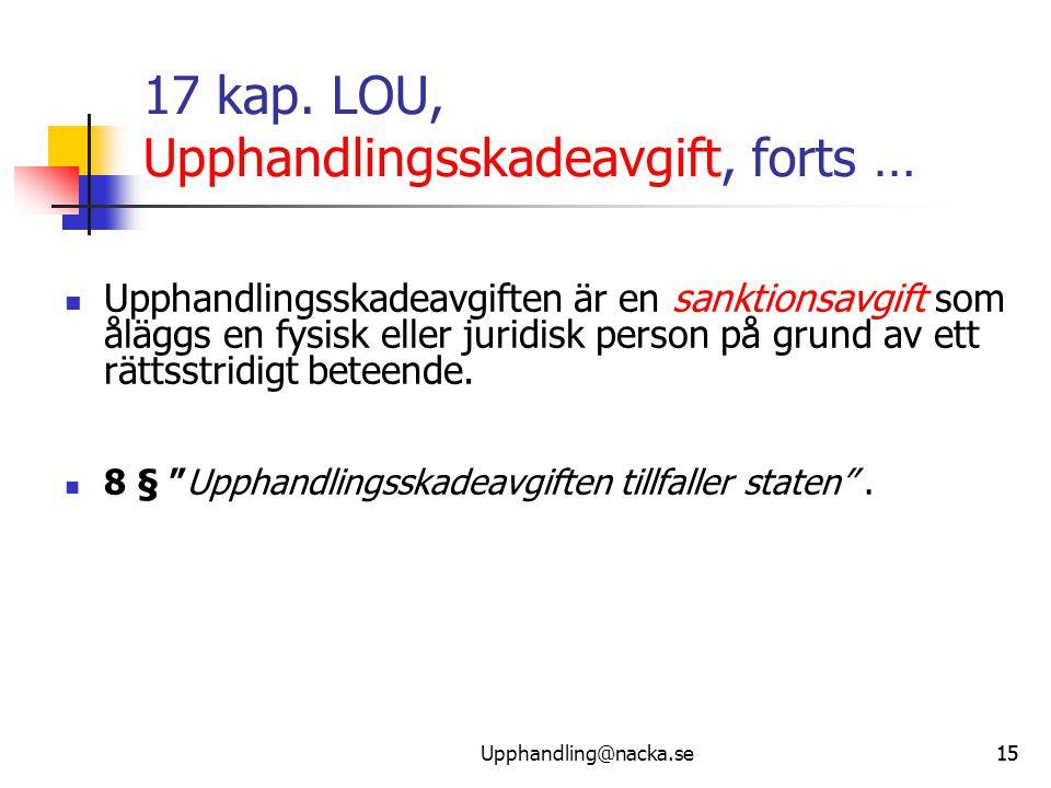15 17 kap. LOU, Upphandlingsskadeavgift, forts …  Upphandlingsskadeavgiften är en sanktionsavgift som åläggs en fysisk eller juridisk person på grund