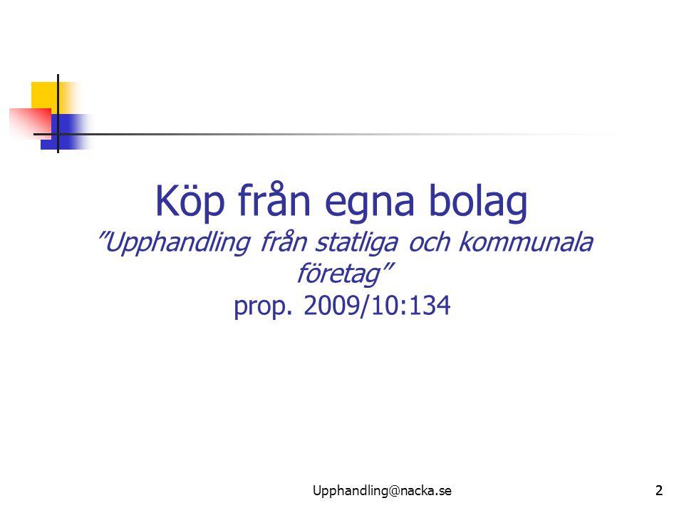 """222 Köp från egna bolag """"Upphandling från statliga och kommunala företag"""" prop. 2009/10:134 Upphandling@nacka.se"""