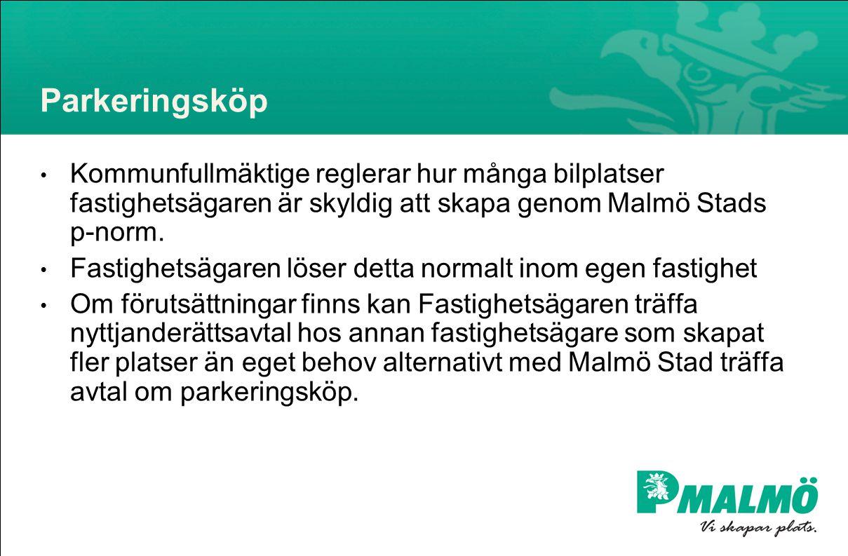 Parkeringsköp • Kommunfullmäktige reglerar hur många bilplatser fastighetsägaren är skyldig att skapa genom Malmö Stads p-norm.