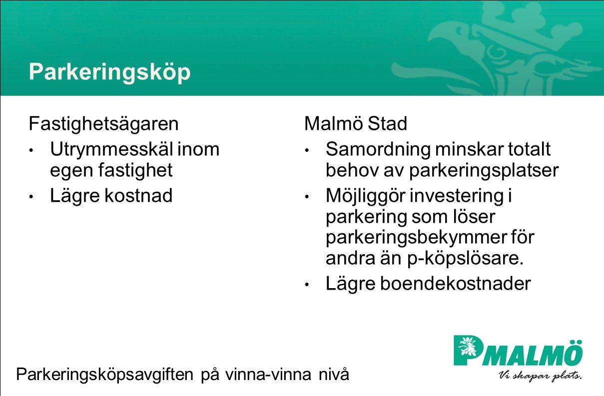 Parkeringsköp Fastighetsägaren • Utrymmesskäl inom egen fastighet • Lägre kostnad Malmö Stad • Samordning minskar totalt behov av parkeringsplatser • Möjliggör investering i parkering som löser parkeringsbekymmer för andra än p-köpslösare.