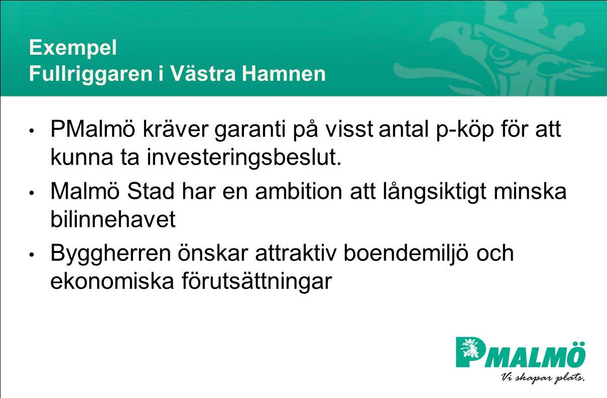Exempel Fullriggaren i Västra Hamnen • PMalmö kräver garanti på visst antal p-köp för att kunna ta investeringsbeslut.