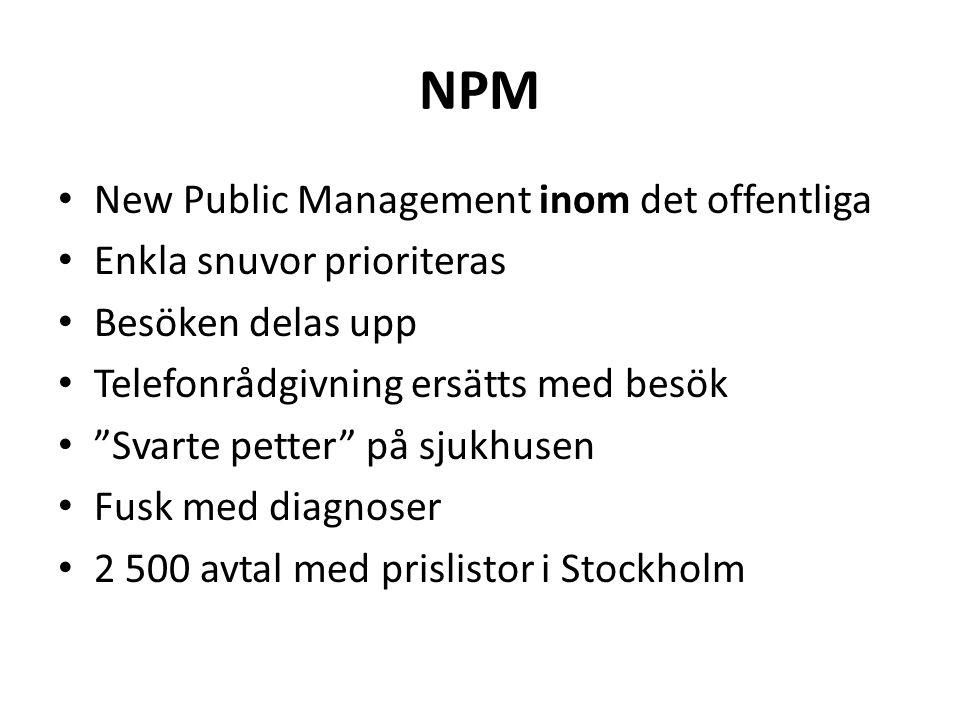 NPM • New Public Management inom det offentliga • Enkla snuvor prioriteras • Besöken delas upp • Telefonrådgivning ersätts med besök • Svarte petter på sjukhusen • Fusk med diagnoser • 2 500 avtal med prislistor i Stockholm