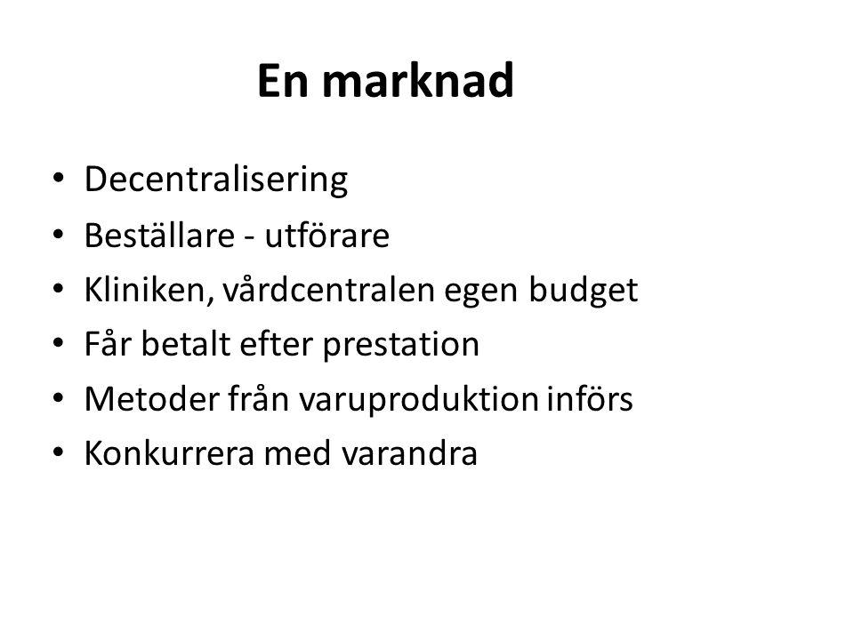 En marknad • Decentralisering • Beställare - utförare • Kliniken, vårdcentralen egen budget • Får betalt efter prestation • Metoder från varuproduktion införs • Konkurrera med varandra